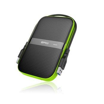 """Твърд диск 4TB Silicon Power Armor A60, външен, 2.5"""" (6.35 cm), USB 3.0, удароустойчив, черен със зелен кант image"""