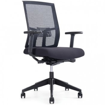 Работен стол OKOffice Sydney Lux P002B, пластмасови подлакътници, газов амортисьор, коригиране на височината, черен image