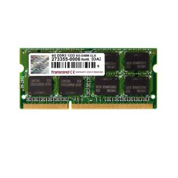 Памет 4GB DDR3 1333MHz, Transcend TS512MSK64V3N, SO-DIMM, 1.5V image