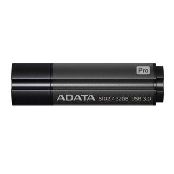Памет 32GB USB Flash Drive, A-Data S102 Pro, USB 3.1, сива image