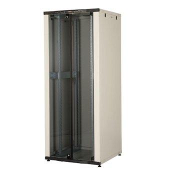 """Комуникационен шкаф Lande LN-CK42U8080-BL, 19"""", 42U, 800 x 800 мм, стъклена врата, LCD термометър, черен image"""