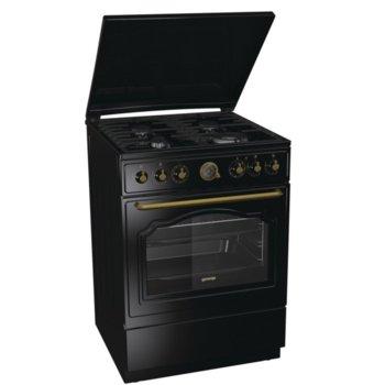 Готварска печка Gorenje K62CLB, клас А, 65 л. обем на фурната, газов плот, AquaClean почистване, MultiAir, WarmPlate, черна image