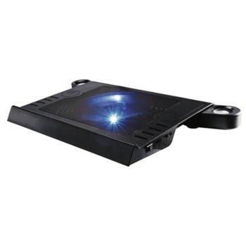 """Охлаждаща подложка за лаптоп Hama Aluminium, за лаптопи до 15,6"""" (39.62 cm), синя подсветка, черна image"""