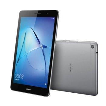 """Таблет Huawei Mediapad T3 (сив), LTE, 8"""" (20.32 cm) WXGA IPS дисплей, четириядрен Qualcomm MSM8917 A53 1.4GHz, 2GB RAM, 16GB Flash памет (+ microSD слот), 5Mpix & 2Mpix камера, Android 7.0 Nougat, 350g image"""
