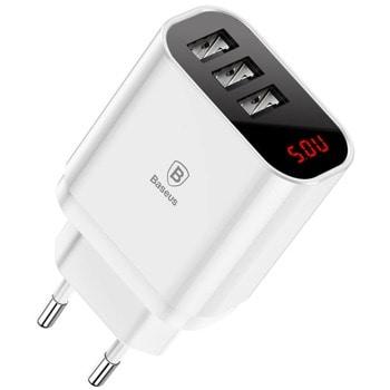 Зарядно устройство Baseus Mirror Travel, от контакт към 3x USB A(ж), 5V, 3.4A, 17W, бяло image