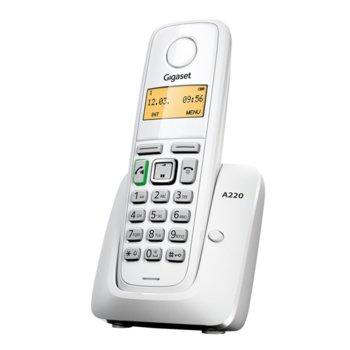 Безжичен телефон Gigaset A220, течнокристален черно-бял дисплей, бял image