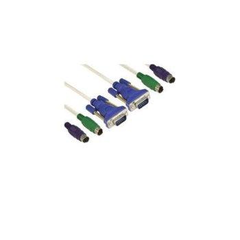 Кабел VCom CK501A-3m, от (VGA + 2x PS/2)(м) към (VGA + 2x PS/2)(м), за KVM switch, 3m image