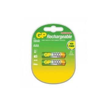 Акумулаторна батерия GP 1000AAAHC-2PL2, AAA, 1.2V, 930mAh, NiMH, 2бр. image