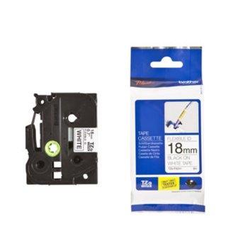 Лента за етикетен принтер Brother TZe-FX241, черно върху бяло, 18mm x 8m image