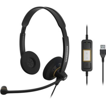 Слушалки Sennheiser SC 60 USB ML 504547, микрофон, USB, черни image