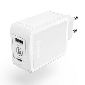 Зарядно устройство Hama GaN, от контакт към USB Type A(ж) и USB Type C(ж), 12V, 2.5A, бяло, LED индикатор image
