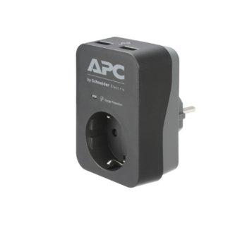 Разклонител APC Essential SurgeArrest (PME1WU2B-GR), 1 гнездо, 2x USB, защита от токови удари, черен image