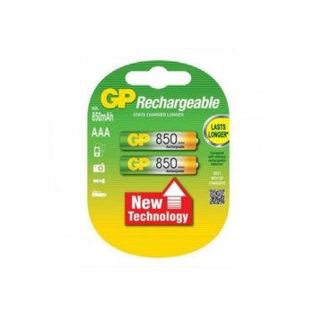 Акумулаторна батерия GP 850AAAHC-2UEC2, AAA, 1.2V, 850mAh, NiMH, 2бр. image