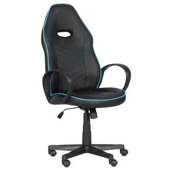 Геймърски стол Carmen 7530, до 130кг. макс. тегло, еко кожа, газов амортисьор, полипропиленова база, Tilt tension механизъм, коригиране на височина, черно-син image