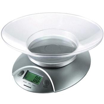 Кухненски кантар Heinner HKS-5SL, дигитален, до 5кг капацитет, с купа, функция тара, функция за претегляне на течности, LCD дисплей, сребрист image