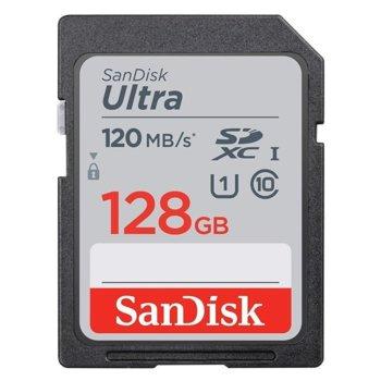 Карта памет 128GB SDXC, SanDisk Ultra (SDSDUN4-128-GN6IN), Class 10, скорост на четене 120MB/s image