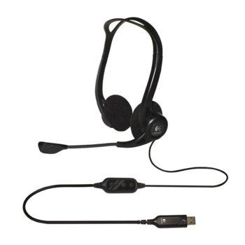 Слушалки Logitech PC960, микрофон, бързи бутони, USB, черни image