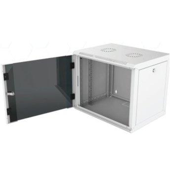 """Комуникационен шкаф Security Professionals MR.WTC12U60MN.02, 19"""", 12U, 565 x 600 x 580, стенен монтаж, товароносимост 80кг, отваряеми странични панели, стъклена врата, вентилационни отвори, сив image"""