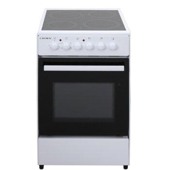 Готварска печка Crown CEC-5060V, енергиен клас A, 4 нагревателни зони, 47л обем, 5 функции, 6 степени на нагряване на котлоните, индикатор за остатъчна топлина, бял image