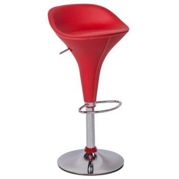 Бар стол Carmen 3074, хромирана база, еко кожа, хромиран ринг за поставяне на краката, механизъм за регулиране на височината, червен image