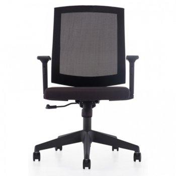Работен стол Mexicano K68B, газов амортисьор, пластмасова петлъчева основа, черен image