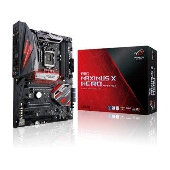 Дънна платка Asus ROG MAXIMUS X HERO(WI-FI AC), Z370, LGA1151, DDR4, PCI-E(DP&HDMI)(SLI&CFX), 6x SATA 6Gb/s, 2x M.2(2280) sockets, 1x USB 3.1 Type C, 4x USB 3.1 Gen1, Aura RGB подсветка, ATX image