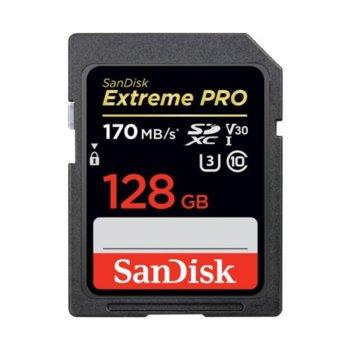 Карта памет 128GB SDXC SanDisk Extreme Pro, Class 10 UHS-I, скорост на четене до 170 MB/s, скорост на запис до 90 MB/s image