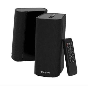 Тонколони Creative T100, 2.0, 2x 20W, 3.5mm jack, Optical-in, USB, Bluetooth 5.0, дистанционно, черни image