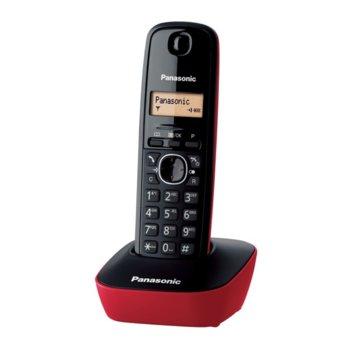 Безжичен телефон Panasonic KX-TG1611, чернобял двуредов LCD дисплей, вътрешен/външен обхват 300/50м, до 6 слушалки към базата, черен-червен image
