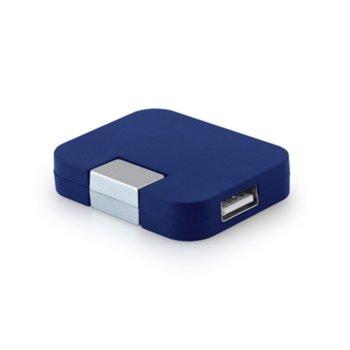 USB хъб Hi!dea, 4 порта, USB 2.0, син image