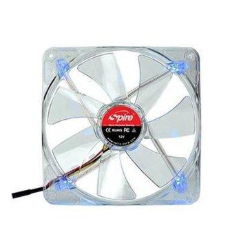 Вентилатор 140мм Spire ClearStar 140 LED, 3-pin, 1500rpm, синя LED подсветка, бял image