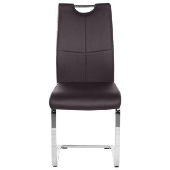 Трапезен стол Carmen 370-1, Еко кожа, 100 кг. максимално натоварване, кафяв image
