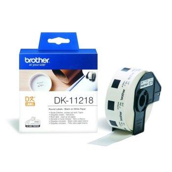 Лента за етикетен принтер Brother DK-11218, черно върху бяло, 24mm x 90mm, 400 етикета image