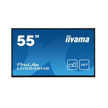 "Дисплей Iiyama LH5546HS-B1, 54.6"" (138.6 cm), Full HD, HDMI, DisplayPort, VGA, DVI, USB, RS232 image"