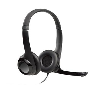 Слушалки Logitech H390 (981-000406), USB, черни image