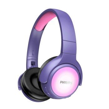 Слушалки Philips TAKH402PK, безжични, микрофон, Bluetooth, до 20 часа време на работа, oграничена сила на звука до 85 dB, лилави image