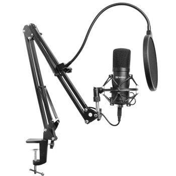 Микрофон Sandberg Streamer USB Microphone Kit (126-07), USB, микрофонен комплект, включва метален микрофон/поп филтър/капак против вятър/регулируема настолна конзола, черен image