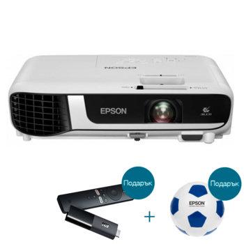 Проектор Epson EB-W51 с подарък медиа плейър Xiaomi Mi TV Stick и футболна топка Epson, 3LCD, WXGA (1280 x 800), 16 000 : 1, 4000 lm, HDMI, VGA, USB image