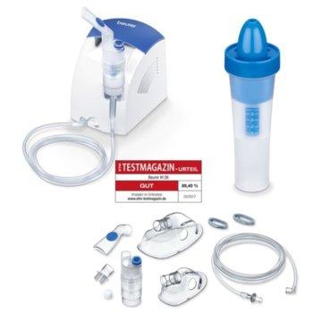 Инхалатор Beurer IH 26, обем на пулверизация 0.3 ml/min, маска за възрастни/деца, за лечение на горната и долната част на дихателната система, бял/син image
