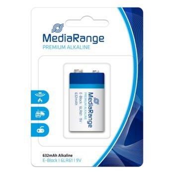 Батерия алкална MediaRange Premium E-Block MRBAT107 6LR61, 9V, 632mAh, 1бр. image