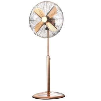Настолен вентилатор Finlux FSF-1650G, 50W, 16' диаметър, хромирана предпазна решетка, къгла стабилна основа, 3 скорости на работа, 4 метални перки, кафяв image