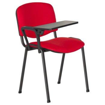Посетителски стол Carmen 1140 LUX, метални крака, полипропиленова масичка за писане, дамаска, червен image