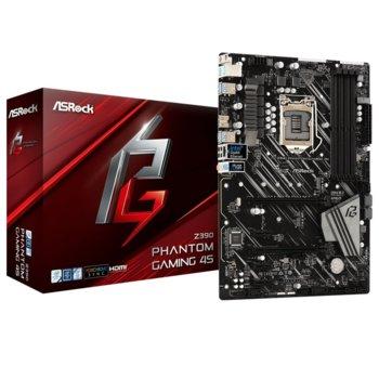 Дънна платка ASROCK Z390 PHANTOM GAMING 4S, Z390, LGA1151, DDR4, PCI-Е (HDMI)(CFX), 6x SATA3 6.0, 1x Ultra M.2, 2x USB 3.2 Gen1, ATX image