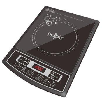 Индукционен котлон SAPIR SP 1445 LG, енергиен клас А, 2000W, LED екран, 4 функции за готвене, 8 регулируеми степени на температурата, черен image