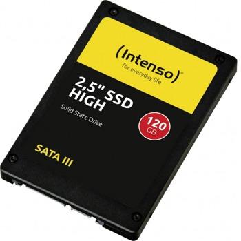"""Памет SSD 120GB Intenso High, SATA 6Gb/s, 2.5"""" (6.35 cm) скорост на четене 520 MB/s, скорост на запис 500MB/s image"""