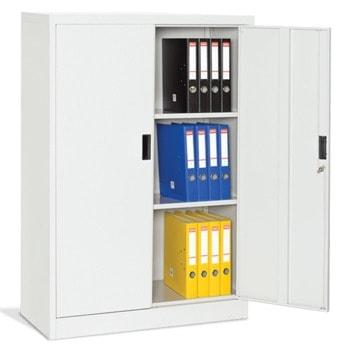 Метален шкаф Carmen CR-1234 Е, 2x рафтове, 2x шкафове, 2x лоста за закачалки, прахово боядисан, метален, вентилационен отвор, сив image