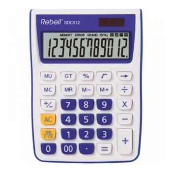 Калкулатор Rebell SDC912 stylish, 12 разряден дисплей, бяло/виолетов image