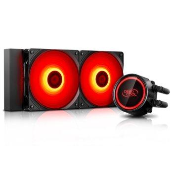Водно охлаждане за процесор DeepCool GAMMAXX L240T RED, съвместимост със Intel LGA2066, LGA2011-v3, LGA2011, LGA1151, LGA1155, LGA1156, LGA1366, LGA775, LGA1150 & AMD AM4, AM3+, AM3, AM2+, FM2+, FM2, FM1 image
