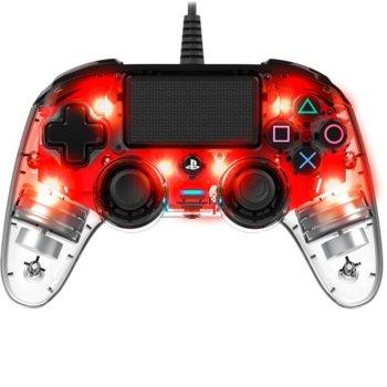 Геймпад Nacon Wired Illuminated Compact, за PS4, червена подсветка, прозрачен image
