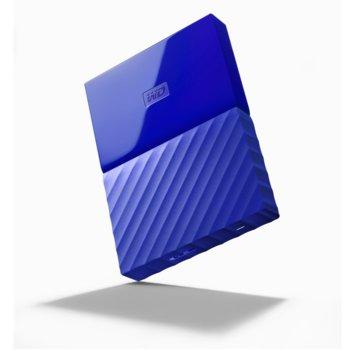 """Твърд диск 4TB Western Digital MyPassport, външен, 2.5""""(6.35cm), USB 3.0, син image"""